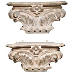 Turn of the Century Hand-Carved Wooden Bank Column Capitals, circa 1900