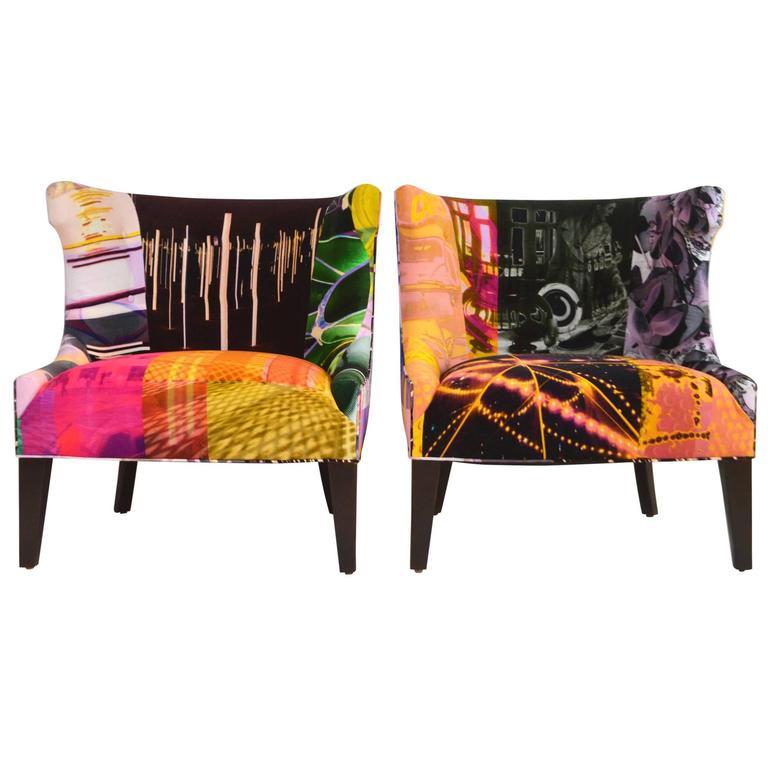 """Pair of Avant Garde Art """"Passage"""" Velvet Barrel Back Chairs"""