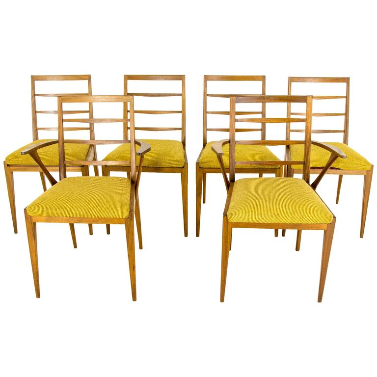 B507 vintage mid century modern six teak dining side for G plan teak dining room chairs