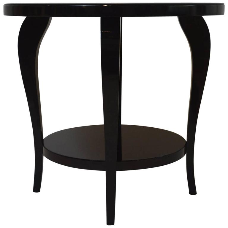 French Art Deco Black Lacquered Gueridon