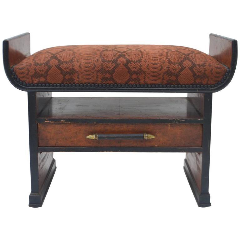 Art Deco Snakeskin Suede Pigskin Seat/Ottoman