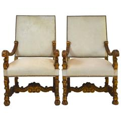 Pair of 19th Century Louis XIV Style Giltwood White Hair Hide Fauteuils
