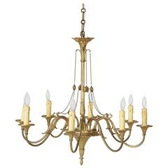 Large French Mid-Century Louis XVI Style Bronze Chandelier with Eight Lights
