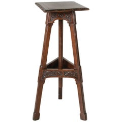 Late 19th Century, French Hand-Carved Oak Tall Pedestal or Sculptor's Table