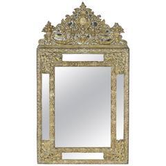 19th Century Napoleon III Period Bronze Repousse Cushion Mirror