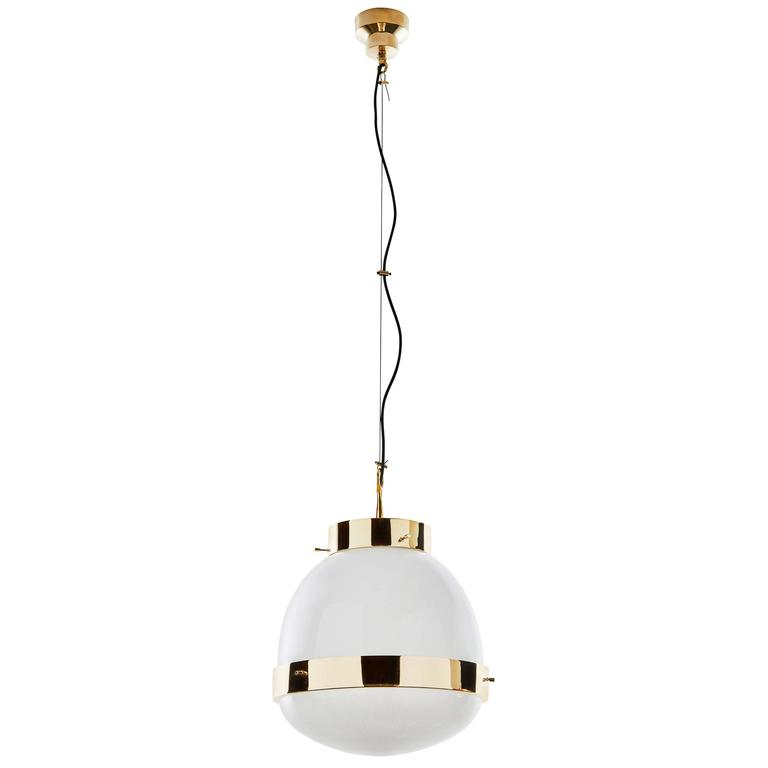 Brass and Glass Pendant by Sergio Mazza for Artemide  1