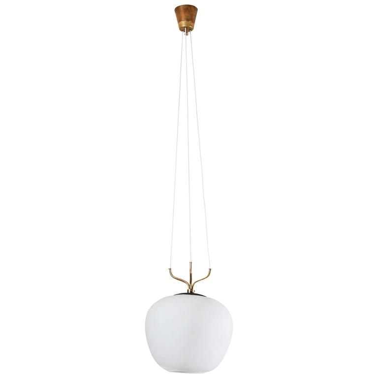 Glass and Brass Suspension Pendant by Stilnovo 1