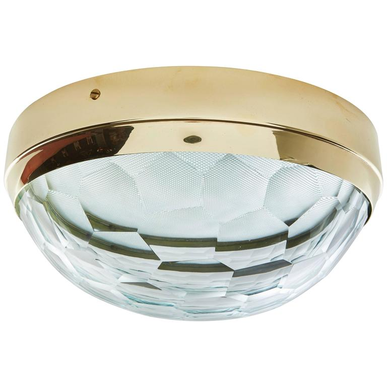 Multifaceted Glass and Brass Flush Mount Ceiling Light 1