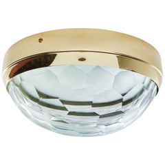 Multifaceted Glass and Brass Flush Mount Ceiling Light