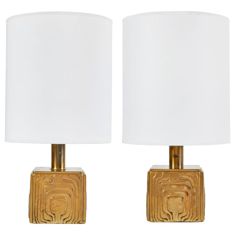 Pair of Petite Brass Table Lamps