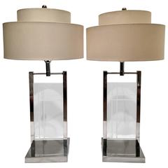 """1970"""" Pair of George Kovacs Chrome and Lucite Panel Lamps"""
