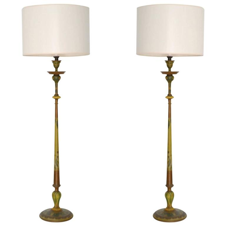 Pair of Venetian Hand-Painted Carved Wood Candlestick Table Lamps