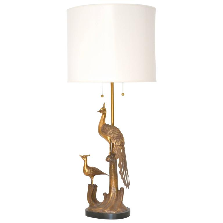 Mid-Century Marbro Brass Peacock Form Table Lamp