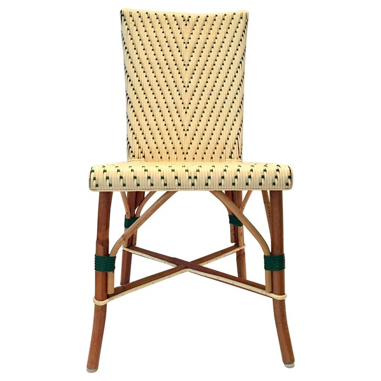Attrayant Vintage Italian Woven Rattan Bistro Chair For Sale