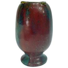 Pierre-Adrien Dalpayrat, Grès Vase with a Sang-de-boeuf and Green Glazes