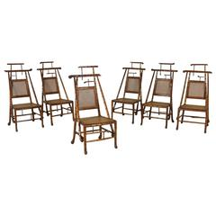 Group Six Chairs Carved Solid Maple 'Faux Bamboo' Style Italy 19th Century