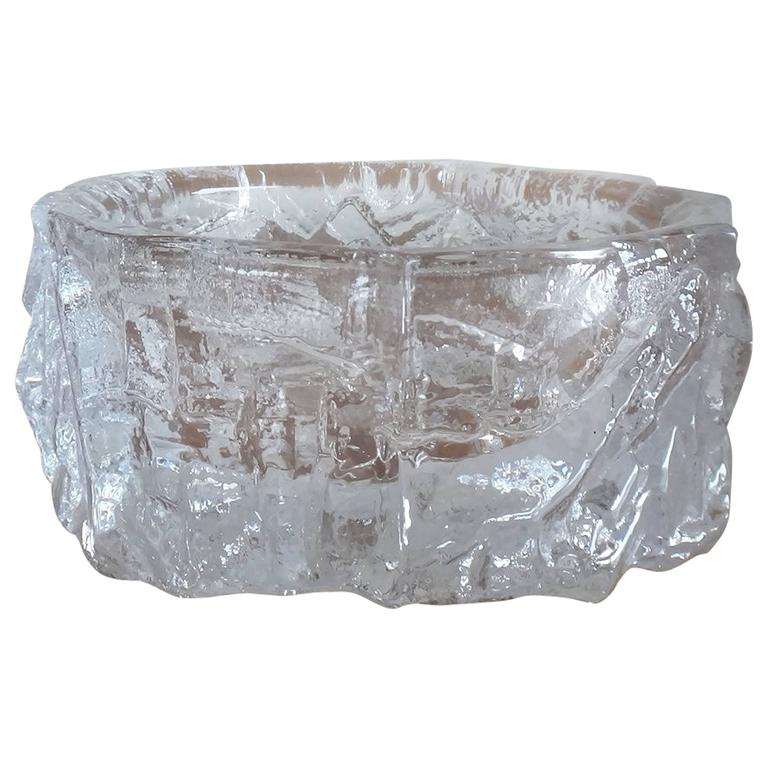 Signed Brutalist Crystal Vessel by Daum Nancy, France, 1960s