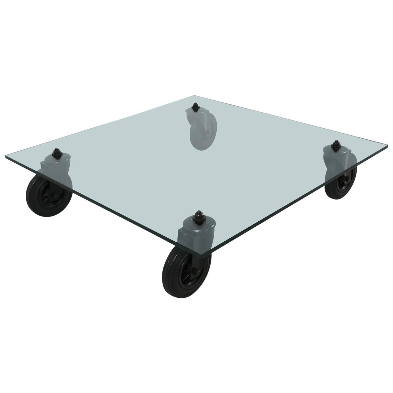 Glass Coffee Table Gae Aulenti Tavolo con Ruote at 1stdibs