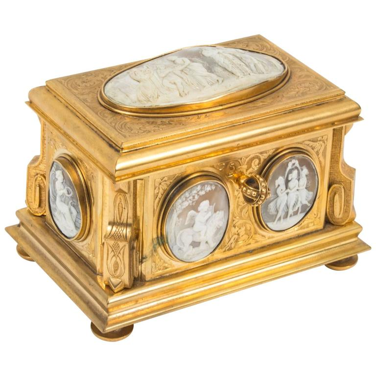 19th Century Gilt Bronze Jewel Casket Box by Tahan