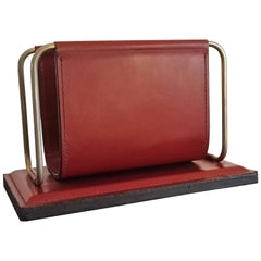 Stitched Bordeaux Leather Letter Rack by Longchamp, France, 1970s