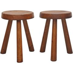 Pair of Charlotte Perriand Stool for Les Arcs, circa 1960