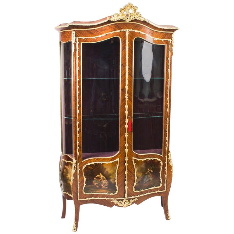 19th Century French Kingwood Vernis Martin Display Cabinet For Sale