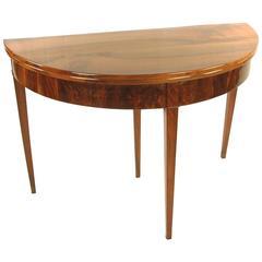 Demilune Console Table, Germany, circa 1820, Biedermeier, Walnut Veneer