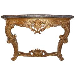 French Regence Period Giltwood Console Table with Marble Top, circa 1730