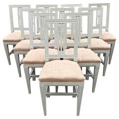 Set of Ten Swedish Gustavian Style Chairs