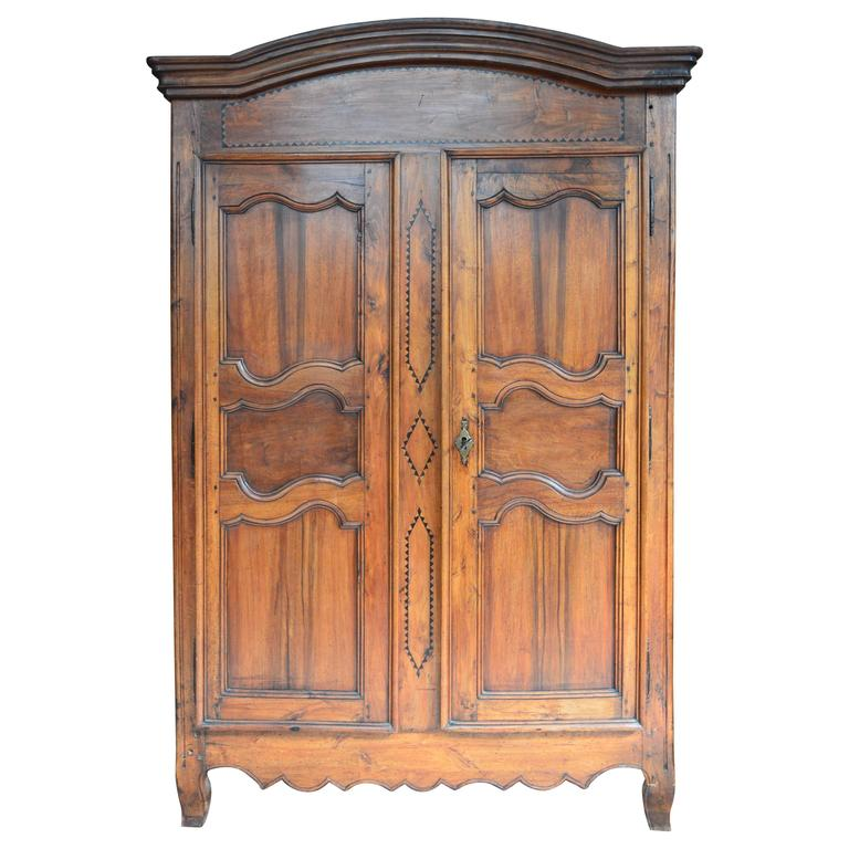 Merveilleux Period Louis XV French Wild Cherry Armoire, Circa 1790 For Sale