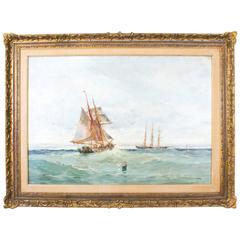Antique Oil Painting off The Coast William Wilson, circa 1885