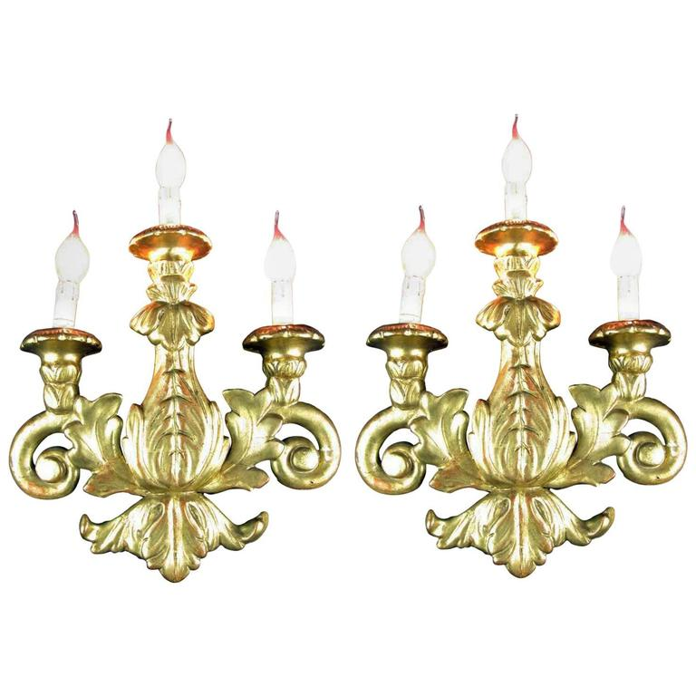 Pair of Carved Giltwood Sconces, 19th Century Italian Three-Light Wall Lights
