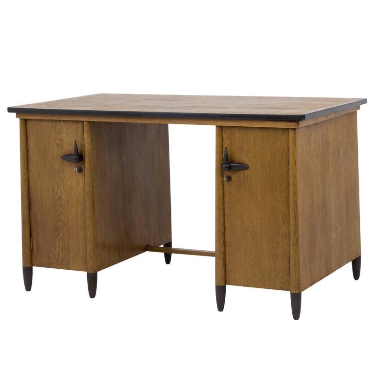 Elegant and Rare Art Deco Amsterdam School La s Desk by