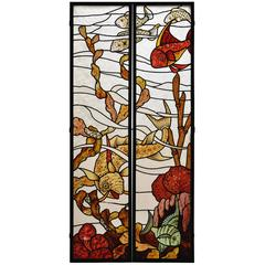 Pair of Stained Glass Windows with Japanese Style Decor of Koi Carps