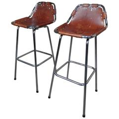 Selected by Charlotte Perriand for the Les Arcs Ski Resort, Two High Bar Stools