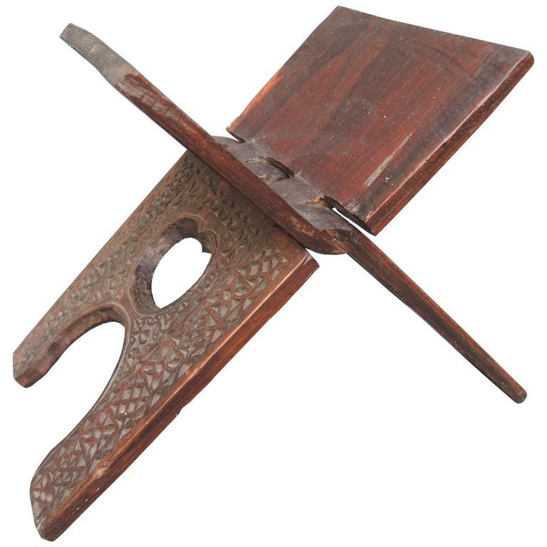 19th Century Carved Wood Persian Folding Book Stand