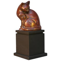 Art Deco Patinated Bronze Model of a Sitting Cat, circa 1930
