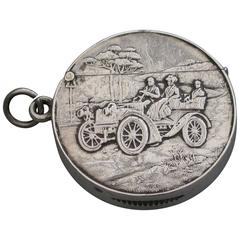 Rare Edwardian Antique Silver Vintage Car Vesta Case