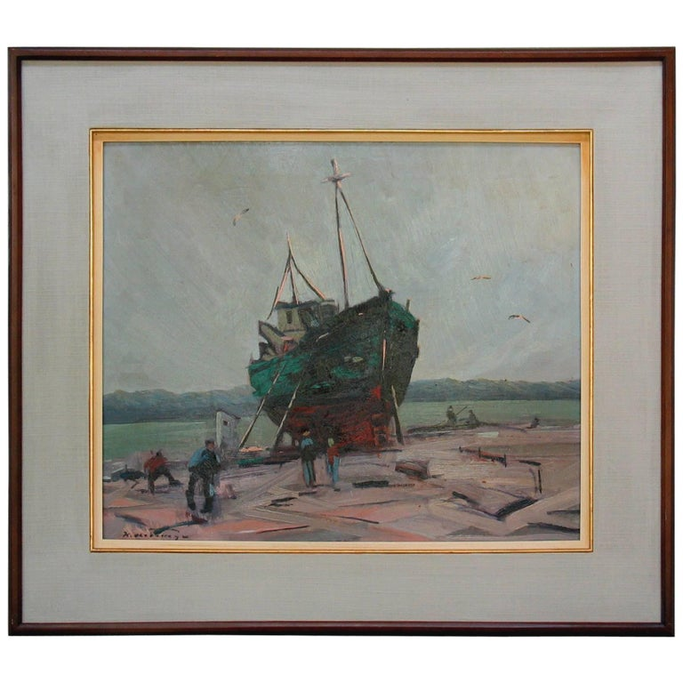 Klement Olsansky Painting, Titled Fishing Boat at Drydock, Canadian, circa 1945 For Sale