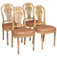 20th Century Group of Four French Lacquered and Gilt Chairs