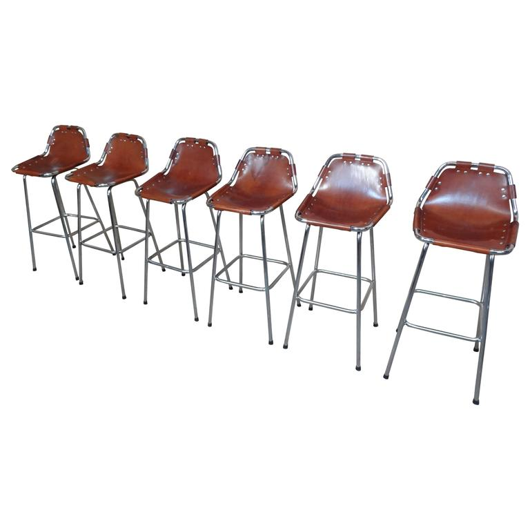 Selected by Charlotte Perriand for the Les Arcs Ski Resort, Six High Bar Stools For Sale