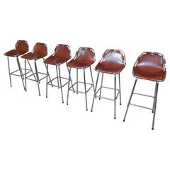 Selected by Charlotte Perriand for the Les Arcs Ski Resort, Six High Bar Stools