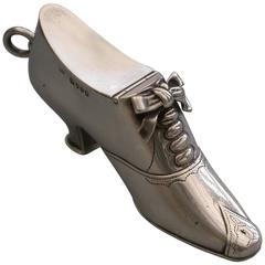Victorian Novelty Silver Registered Design Shoe Bonbonniere & Seal