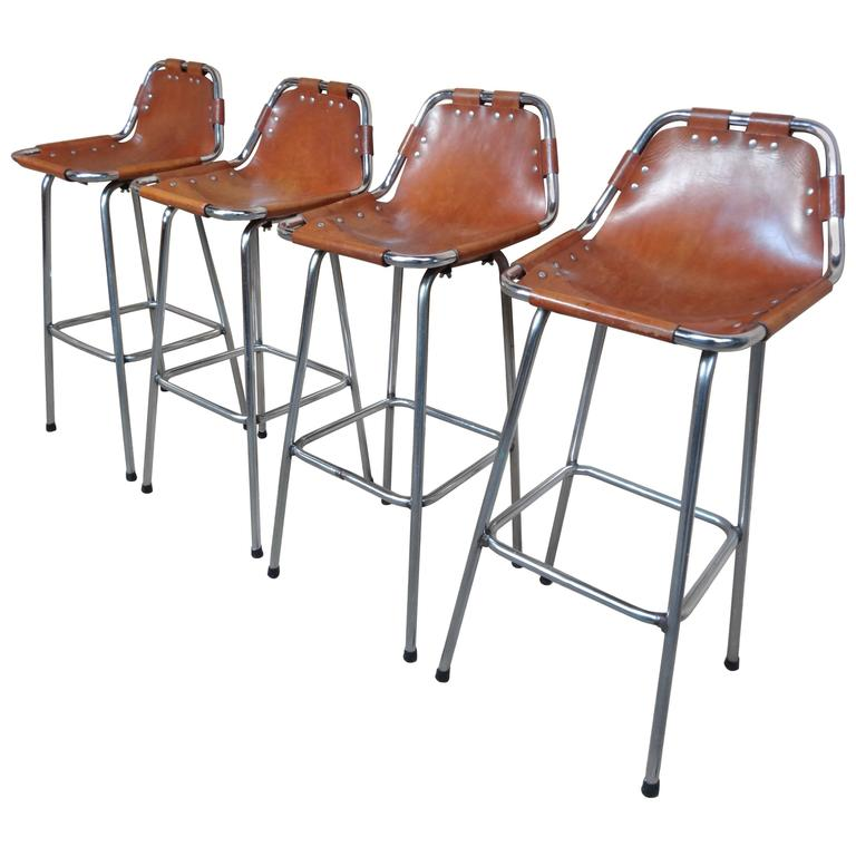 Selected by Charlotte Perriand for the Les Arcs Ski Resort, Four High Bar Stools For Sale