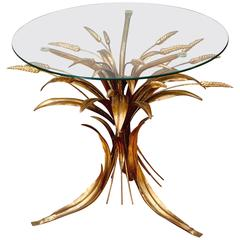 Mid-Century Hollywood Regency Gilt Metal Wheat Sheaf Side Table by Hans Kögl