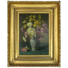Antique Still Life Oil on Canvas Painting in Gold Gilt Frame, Signed, 1910