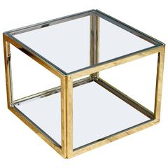 Mid-Century French Brass & Chrome Side Table by Maison Charles, circa 1970s