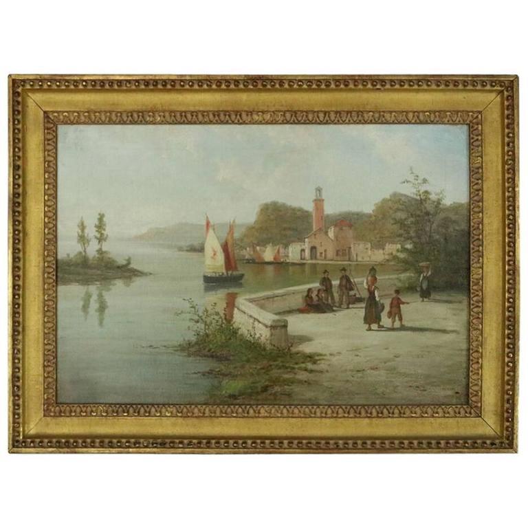 Antique Italian Venetian Oil on Canvas of Harbor Scene, circa 1880