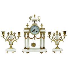 Napoleon III White Marble and Ormolu Mantel Clock Set, Garniture by MouginParis