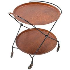 1950s Swedish Mid-Century Serving Table or Trolley in Teak and Lacquered Metal